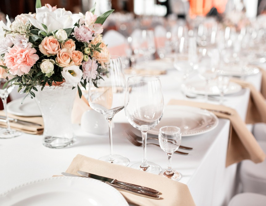 The Chapel Table Setting blush and neutrals