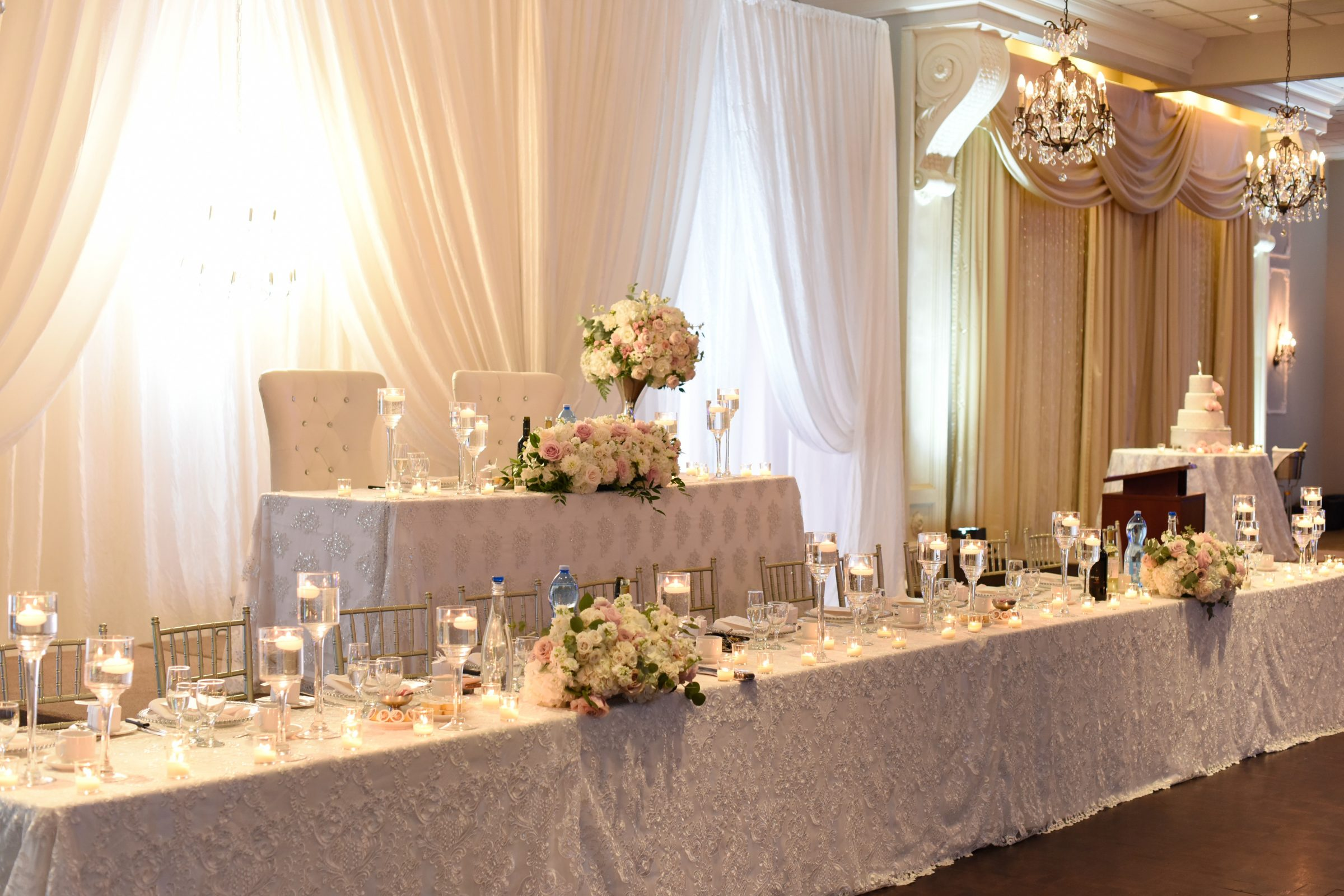 Stunning White and Blush Head Tables