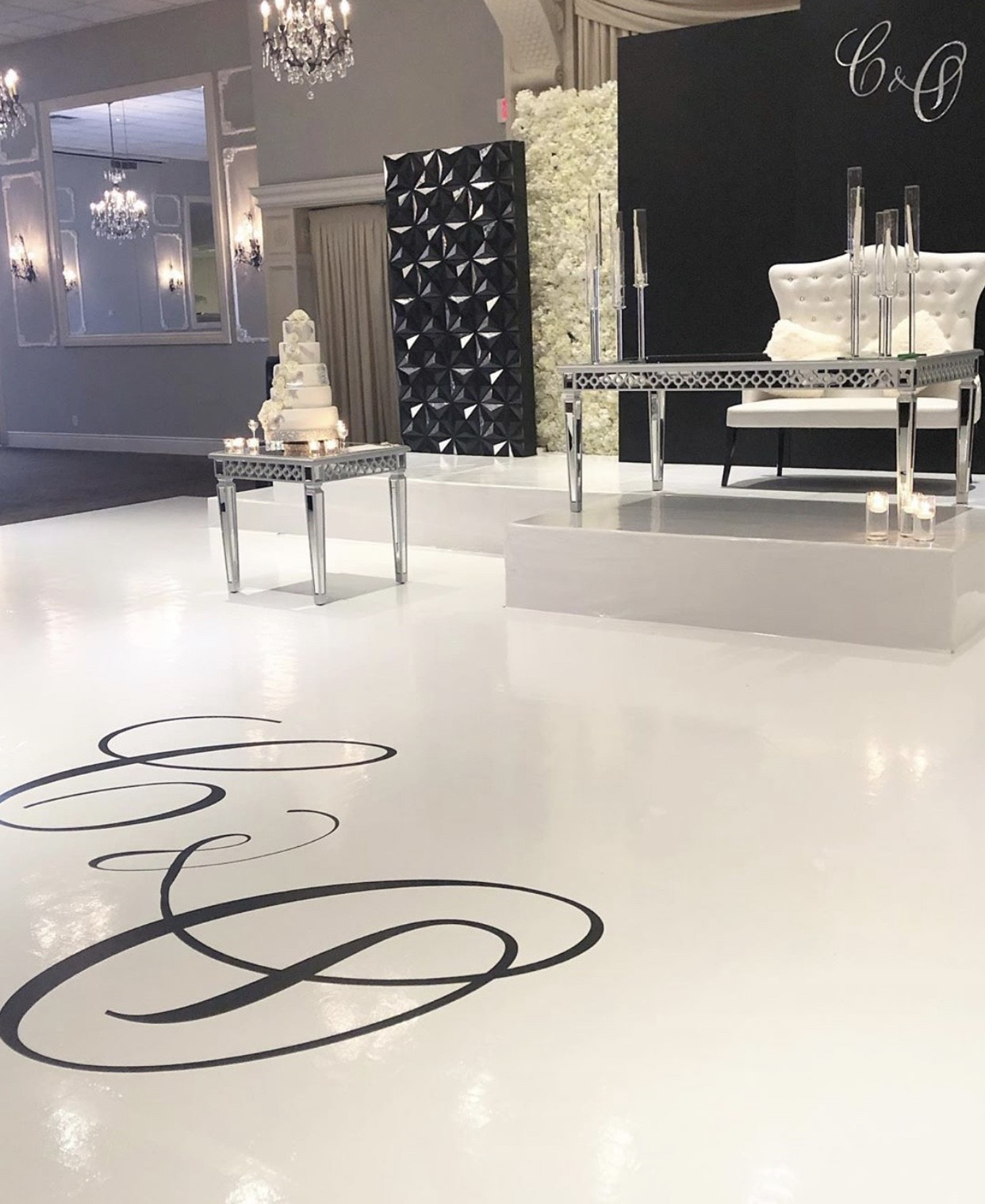 Monogrammed flooring for wedding