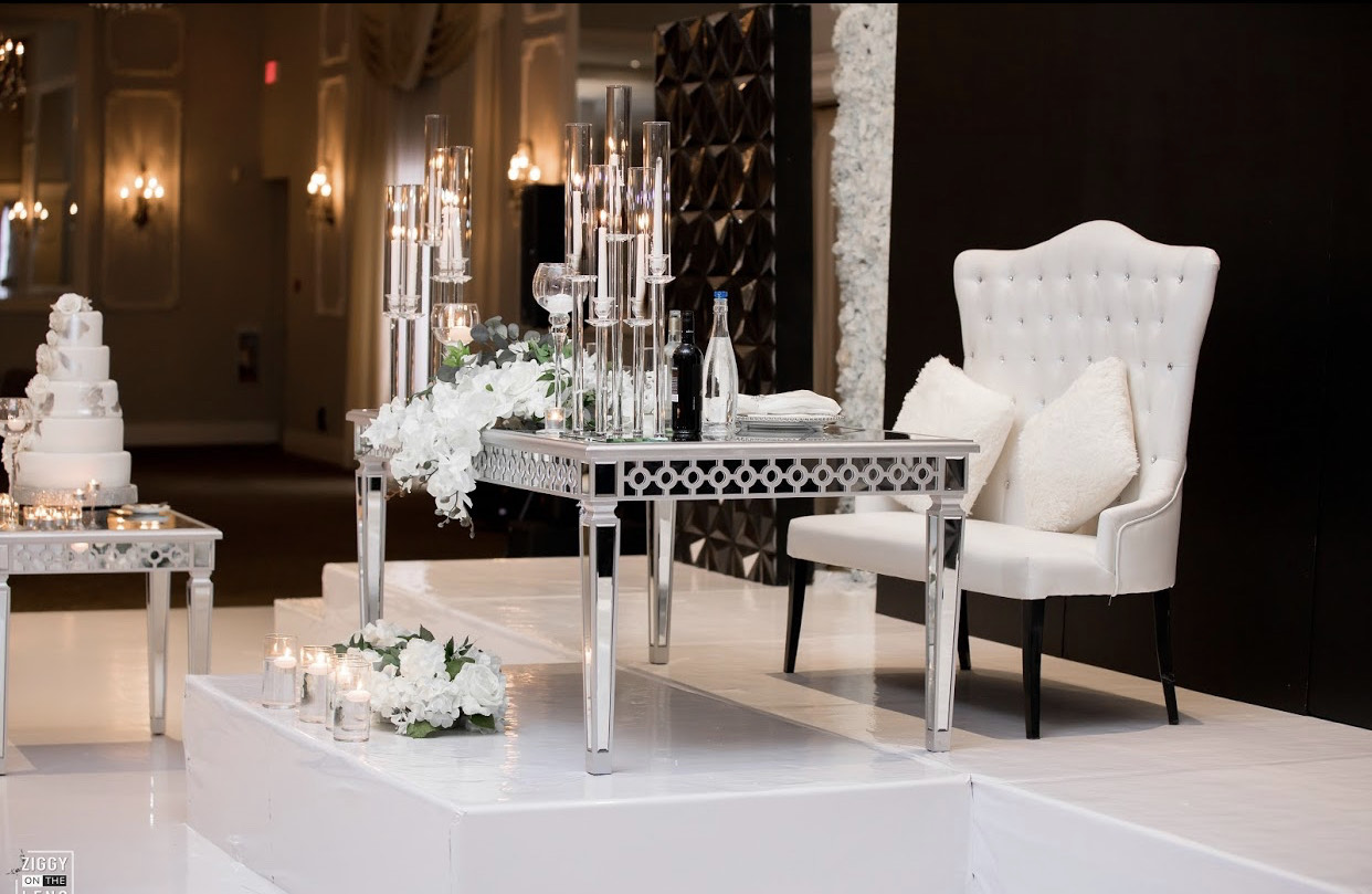 Modern white and black wedding theme