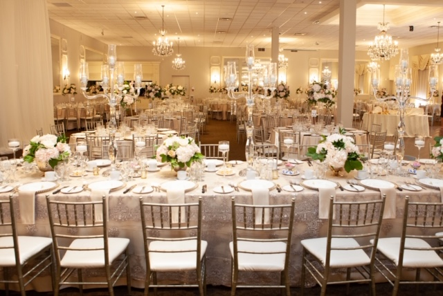 White and Blush Head Table