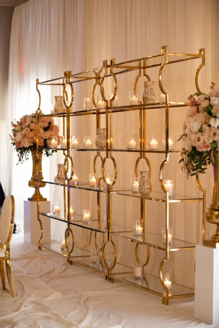 Romantic Gold stand with candles for wedding