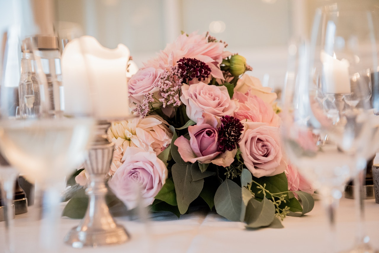 Pink Roses Centerpieces