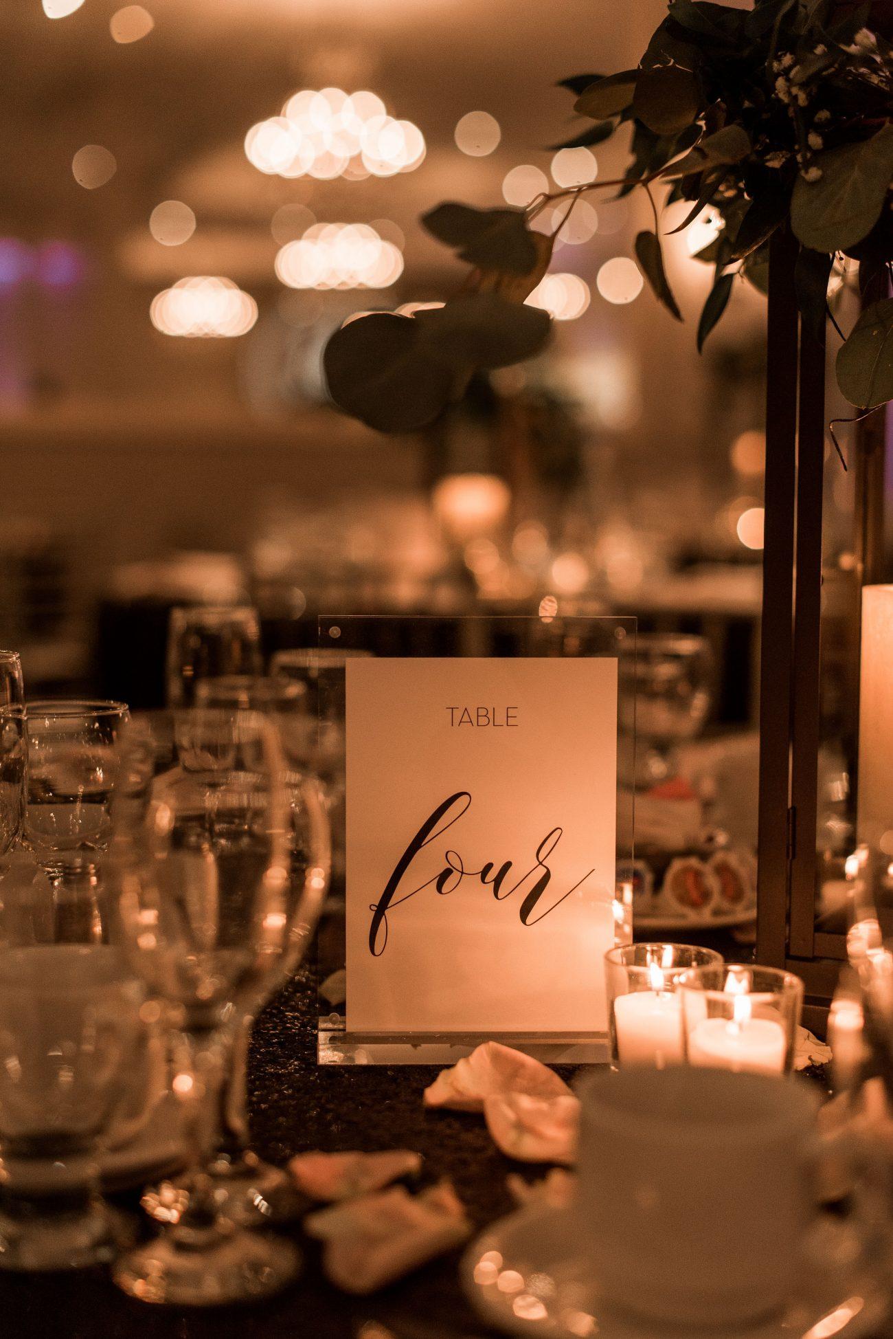 Romantic Table Number Design